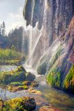 Plitvice waterfalls in the fall stock photo