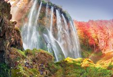Plitvice waterfalls in the fall stock photos