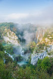 Plitvice waterfalls in the morning Stock Photos
