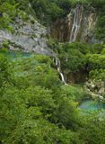 Plitvice waterfalls. Multiple beautiful waterfalls. Surrounded by exuberance of vegetation falling down into turquoise lakes Royalty Free Stock Photos