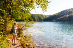 Plitvice woman trail Royalty Free Stock Images