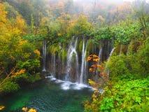 Plitvicewatervallen in de herfst Stock Afbeelding
