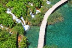 Plitvicka Jezera, Croatia. Wood walkway and small waterfalls in Plitvicka Jezera National Park, Croatia Stock Images