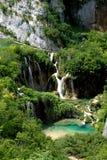 Plivicka湖和瀑布 库存图片