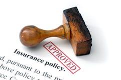 Póliza de seguro - aprobada Imágenes de archivo libres de regalías