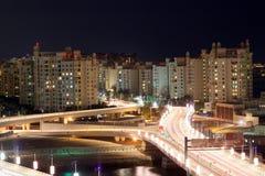Plm Jumeirah τη νύχτα, Ντουμπάι Στοκ Εικόνες