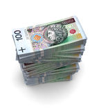 PLN Bills (with clipping path). 100 PLN bills packs on stack Stock Image