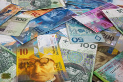 PLN and CHF banknotes as background Royalty Free Stock Photography