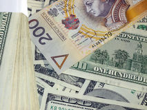 Pln de los usd del dinero Fotografía de archivo