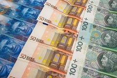 PLN EURO and CHF banknotes Stock Photos