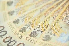 200 PLN-nota's die als een ventilator worden uitgespreid Stock Foto's