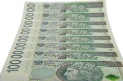 100 PLN-nota's die vlakte leggen Stock Afbeeldingen