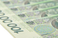 100 PLN notes laying flat Stock Images