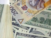 Pln usd денег стоковая фотография