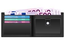 Plånbok med sedeln för euro femhundra Fotografering för Bildbyråer
