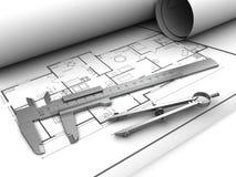 Pläne und Werkzeuge Stockfoto