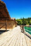 Prehistorical Palafitte Settlement Plocha Mikov Grad, Ohrid Lake. Plocha Michov Grad, Republic of Macedonia - July 25th, 2017: The Museum on Water, Plocha Michov Royalty Free Stock Images