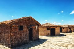 Prehistorical Palafitte Settlement Plocha Mikov Grad, Ohrid Lake. Plocha Michov Grad, Republic of Macedonia - July 25th, 2017: The Museum on Water, Plocha Michov Royalty Free Stock Photos