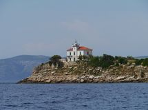 The Plocica lighthouse in the Adriatic sea of Croatia Stock Photography