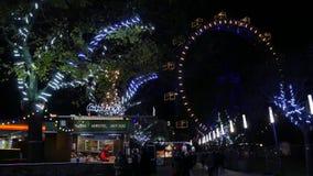 Plociuchów ferris Gigantyczny koło przy nocą 4K zdjęcie wideo