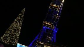 Plociucha koło przy nocą, Wiener Riesenrad, Wiedeń zdjęcie wideo
