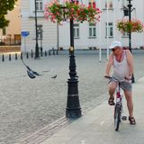 Plock, Poland, 4 August, 2015, Editorial photo of man with bike. Plock, Poland, 4 August, 2015, Editorial  of man with bike who is watching pigeon, Plock, Poland Stock Photography