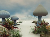 plocka svamp det jätte- landet för ram banan stock illustrationer