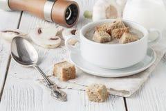 Plocka svamp kräm- soppa med örter och kryddor i den vita bunken Royaltyfria Foton