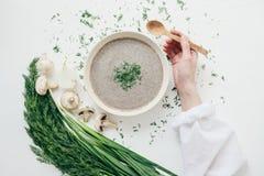 Plocka svamp kräm- soppa på en tabell, mat Arkivfoton