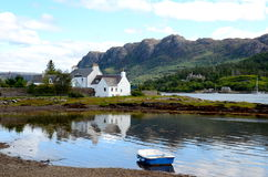 Plockton, Scotland. The bay at Plockton, Scotland (the setting for the television series Hamish Macbeth with Robert Carlyle).  Duncraig castle can be seen in Royalty Free Stock Photo
