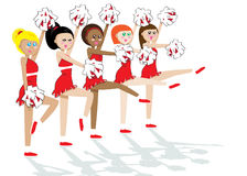 Ploeg 5 van Cheerleading meisjes Stock Afbeelding