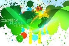 Ploetert de Grunge kleurrijke inkt achtergrond Royalty-vrije Stock Foto's