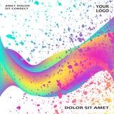 Ploetert de neon vloeibare verf artistiek malplaatjeontwerp Kleurrijke de textuurplons van de inktexplosie in gele roze In vector royalty-vrije illustratie