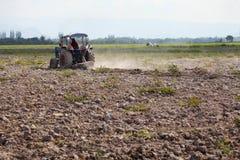 Ploga fält för traktor i solig dag Arkivfoton