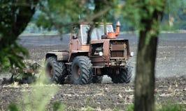 ploga traktor för fält Royaltyfri Fotografi