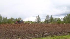 ploga traktor för fält Fåglar över plogat fält lager videofilmer