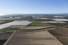 Plogade lantgårdfält flyg- Camarillo Kalifornien Royaltyfri Foto