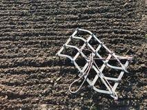 Plogat fält för potatis i brun jord på den öppna bygdnaturen arkivfoto