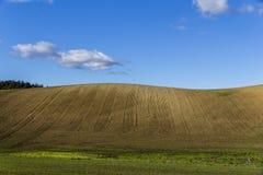 Plogat fält på en klar kulle Arkivfoton