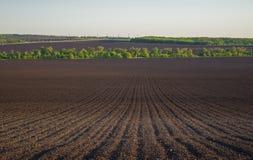 Plogat land i ett fält i vår royaltyfria foton
