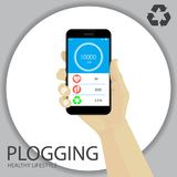 Plogging Concept. Healthy Lifestyle. A Human Hand With Smartphon. E. Infographics on Pulse, Calories, Steps, Trash Weight. Recycle Symbol. Plocka Up. Vector Stock Photos