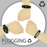 Plogging Concept. Healthy Lifestyle. A Human Hand With Wristband. Tracker, Smartwatch. Recycle Symbol. Plocka Up Design For Green Environment Movement. Vector Royalty Free Stock Photography