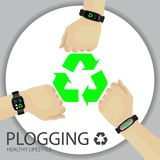 Plogging Concept. Healthy Lifestyle. A Human Hand With Wristband. Tracker, Smartwatch. Recycle Symbol. Plocka Up Design For Green Environment Movement. Vector Royalty Free Stock Image