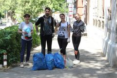 Plogging. young people are happy that they managed to collect city garbage. Saratov, Russia, 10 June 2018. Plogging. young people are happy that they managed to royalty free stock image