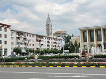 Ploiesti city. People walking in a city park in Ploiesti, Romania. Ploiesti is the 9th largest city in Romania and exists since 1596. It is famous for oil Royalty Free Stock Photography