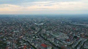 Ploiesti City, Romania, east side district aerial footage. Aerial footage  of the east side of Ploiesti City , Romania with the main residential area stock footage