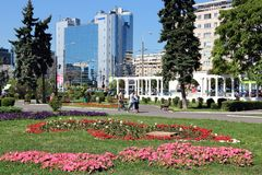 Ploiesti, Romania. AUGUST 20, 2012: People visit city park in . Ploiesti is the 9th largest city in Romania and exists since 1596. It is famous for oil Royalty Free Stock Images