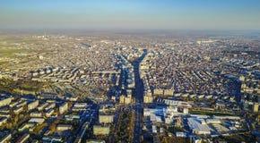 Ploiesti Rumänien, flyg- sikt Royaltyfri Bild
