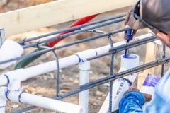 Plombier Applying Pipe Cleaner, amorce et colle dans le tuyau de PVC photo libre de droits