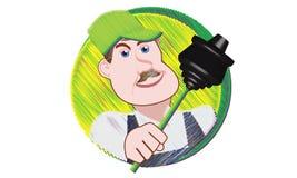 Plombier avec le plongeur Photo libre de droits